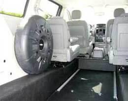 Interior of rear entry wheelchair van