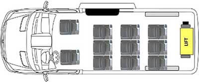 Ford Transit 350 LWB Rear Lift Layouts